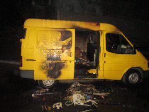 В Запорожской области рецидивисты обворовали и сожгли автомобиль