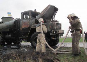 На запорожской трассе загорелся бензовоз с 10 тоннами топлива. Фото