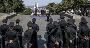 Присягу новой полиции Одессы засняли с беспилотника