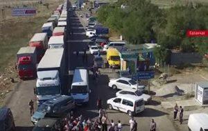 Первый день блокады Крыма сняли с беспилотника