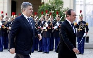 В сети появились фото Порошенко, Путина и Меркель, прибывших в Елисейский дворец