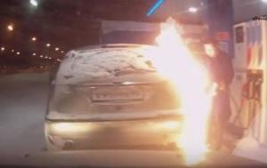Россиянка устроила пожар на автозаправке