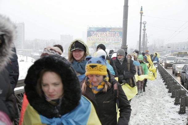 Киевляне образовали живую цепь в День Соборности
