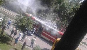 В Запорожье снова горел трамвай