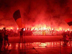 Факельное шествие Азова сняли с высоты птичьего полета - ВИДЕО