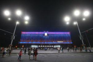 На здании Запорожской ОГА появилась патриотическая подсветка - ФОТО