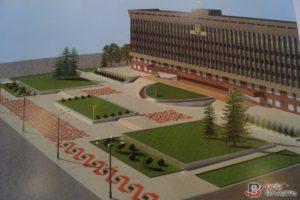 Обновленная площадь перед ОГА пополнится орнаментом, елками и флагами (фото)