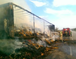 Под Запорожьем сгорела фура с соломой (фото)