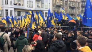 В стoлице митингуют сторонники Саакашвили  - ФОТО