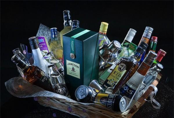 Корзина с алкоголем