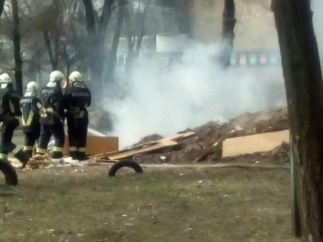 В центре Запорожья произошел пожар из-за неубранной прошлогодней листвы - ФОТО