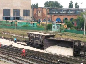 В Запорожской области вагон поезда сошел с рельсов ─ ФОТО