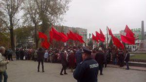 Запорожская полиция на митинге коммунистов задержала двух нарушителей - ФОТО