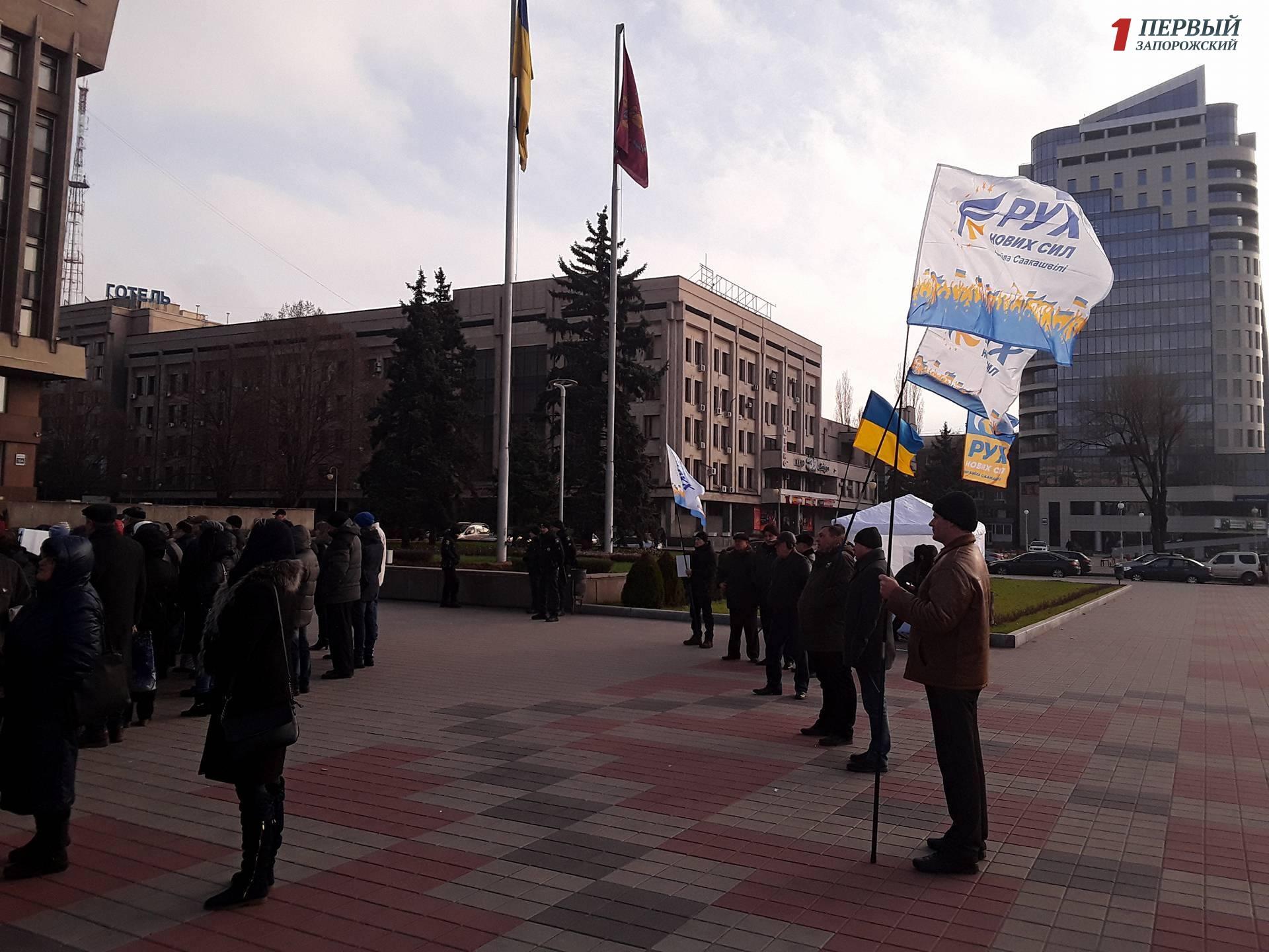 В Запорожье на митинге заводчан соратники Саакашвили пытались согнать всех на митинг в Киеве, чтобы «менять власть» - ФОТО, ВИДЕО