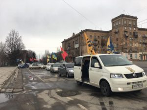 В Запорожье состоялся автопробег ко Дню рождения Степана Бандеры - ФОТО