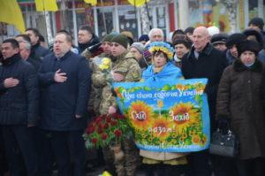 В День соборности в Запорожье прошел митинг около памятника Тараса Шевченко - ФОТО