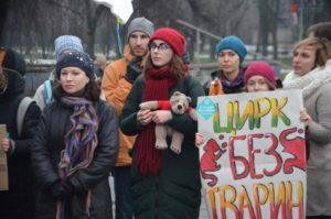 В Запорожье зоозащитники протестовали против использования животных в цирке - ФОТО
