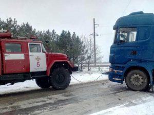 В области на скользкой дороге застряли легковушка и два грузовика