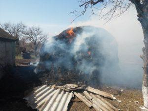 В Запорожской области горела хозпостройка с сеном - ФОТО