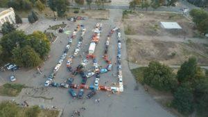 Запорожские автолюбители создали с 90 автомобилей гигантский Герб Украины - ФОТО