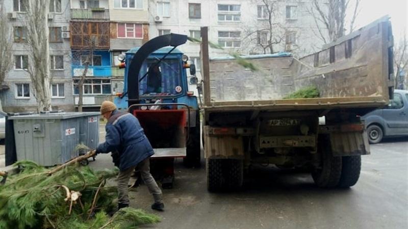 В Александровском районе Запорожья убирают свалки с елками