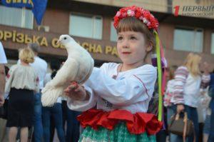 Запорожцы в вышиванках и с флагами приняли участие в шествии по центральному проспекту города - ФОТО