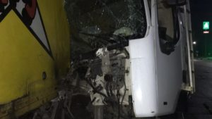 Уснул за рулем: в Запорожье столкнулись две фуры - ФОТО