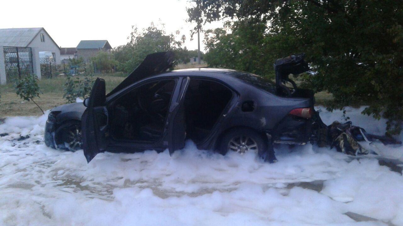 В Кирилловке на рассвете горел автомобиль «Honda» - ФОТО