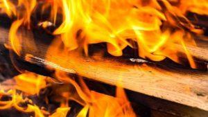 В Запорожской области горела хозпостройка с автомобилем внутри