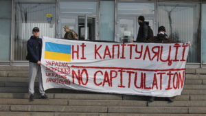 В центре Запорожья протестовали против капитуляции и формулы Штайнмайера, – ФОТОРЕПОРТАЖ