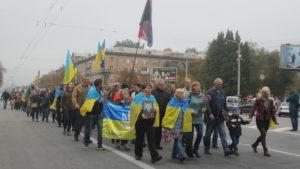 В центре Запорожья ветераны АТО провели праздничное шествие ко Дню защитника Украины, – ФОТОРЕПОРТАЖ