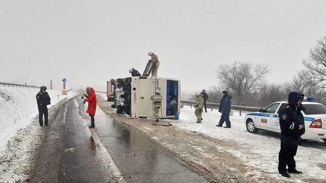 У Росії перекинувся автобус Запоріжжя-Ростов -на-дону: 8 постраждалих, – ФОТО (обновлено)