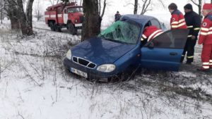 Под Запорожьем водитель на Ланосе влетел в дерево: на месте работали спасатели, – ФОТО