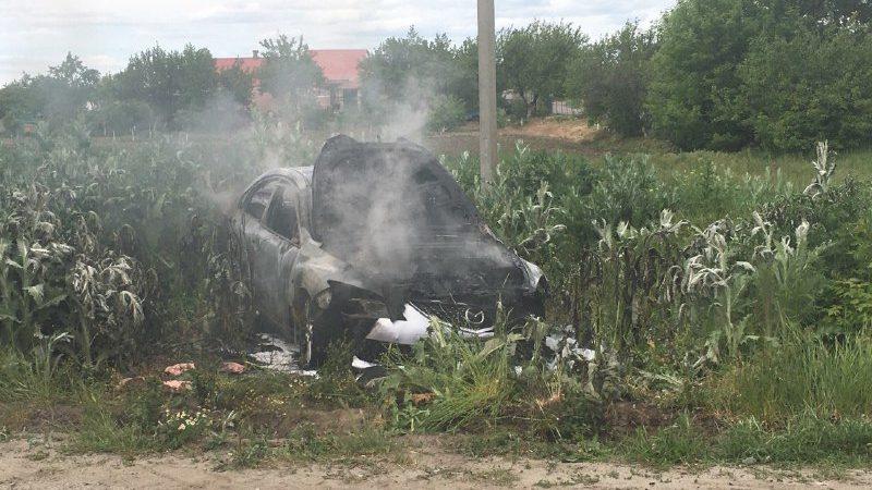 На трассе «Запорожье-Мариуполь» пылала машина, — ФОТО