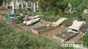 В Запорожской области психически больной вместе с детьми устроил погром на кладбище, – ФОТО