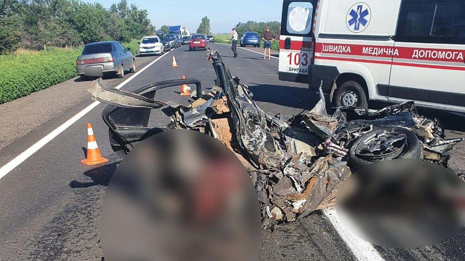 На запорожской трассе BМW во время обгона врезался в грузовик: погибли четыре человека, – ФОТО