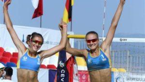 Две юные спортсменки из Запорожья выиграли на чемпионате Европы по пляжному волейболу