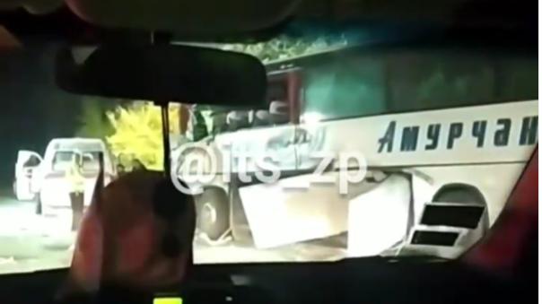 Под Запорожьем на трассе автобус врезался в трактор: есть пострадавшие, – ВИДЕО