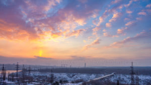 Запорожской фотограф поймал необычный рассвет в Запорожье, — ФОТО
