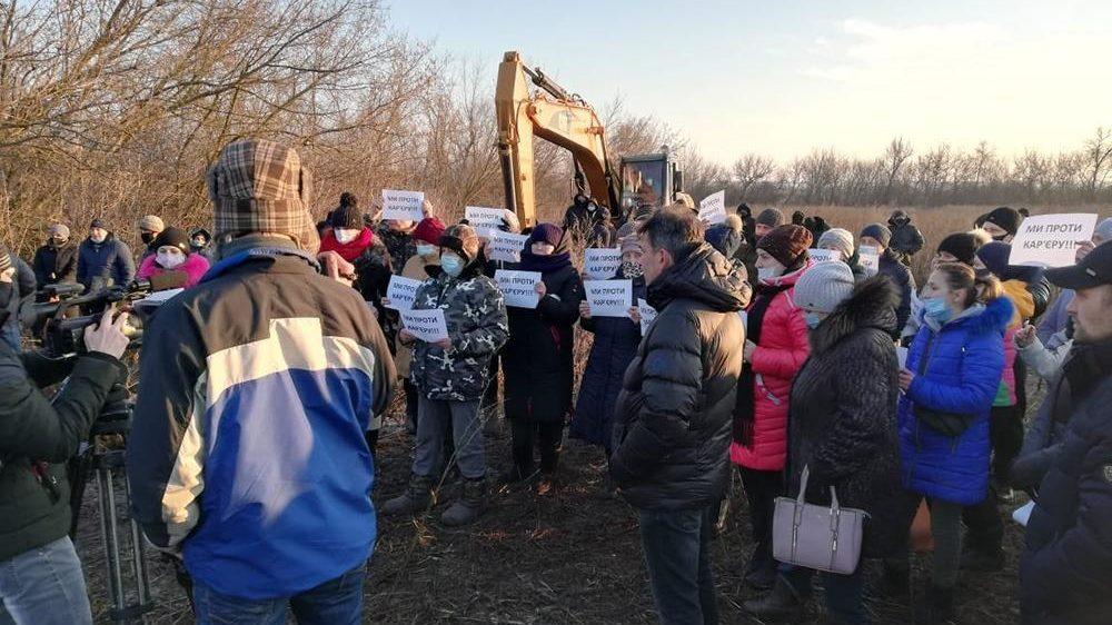 Под Запорожьем провели митинг против строительства обогатительного комбината, – ФОТО