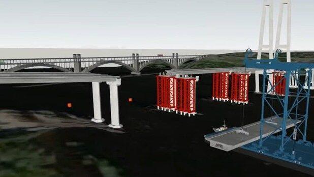 В Запорожье в Кривой бухте собирают огромные секции нового моста с Хортицы на левый берег, – ВИДЕО