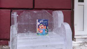 В Запорожье возле трех библиотек установили ледяные кресла для чтения, – ФОТО