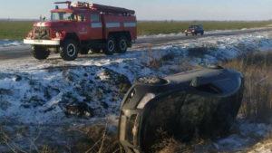 В Запорожской области водительница Chevrolet из-за непогоды вылетела с дороги в кювет, – ФОТО