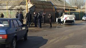 В Запорожской области авто патрульных перевернулось на крышу