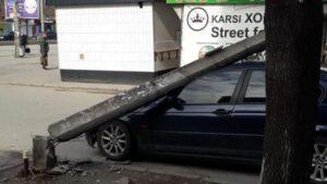 В центральній частині Запоріжжя на тротуар впало дерево, яке зачепило дроти електромереж: постраждала BMW, — ВІДЕО