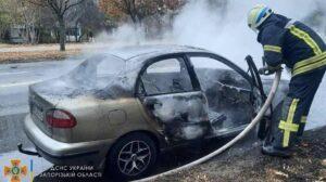 В Запорожье на Бабурке сгорела легковушка, – ФОТО